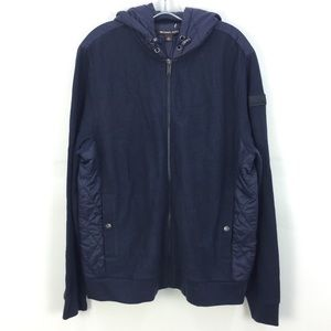 NWT Michael Kors NVY BLU Knitted Quilt Hooded Jacket